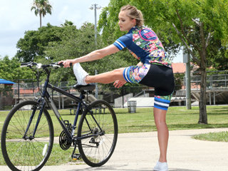 Sexy cyclist chick Avalon gets banged..