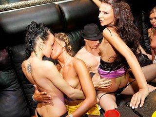 Real school girls tempt a stripper