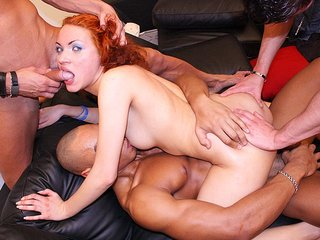 Hard gang-fuck with a crimson maid